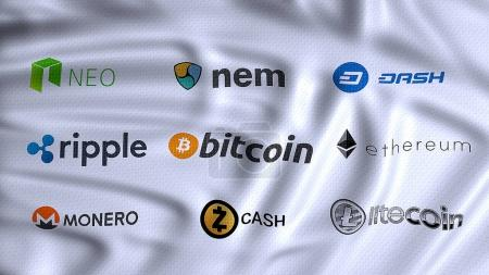 Photo for Cryptocurrencies, digital and alternative currencies, using cryptography to secure the transactions payment on a decentralized worldwide platform, bitcoin, litecoin, ethereum, ripple, monero, neo, nem, dash,  zcash on flag waving - Royalty Free Image