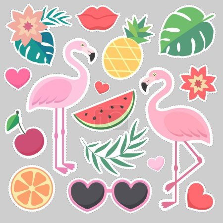 Vector stickers set of tropical illustrations.