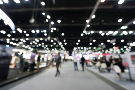 Photo for Blur, defocused background of public exhibition hall. Business tradeshow, job fair, or stock market. Organization or company event, commercial trading, or shopping mall marketing advertisement concept - Royalty Free Image