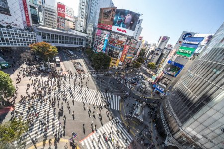 Photo pour Tokyo, Japan - Nov 5, 2019: Crowded people walking, car traffic on Shibuya scramble crossing, high angle view. Tokyo tourist attraction, Japan tourism, Asia transportation or Asian city life concept - image libre de droit