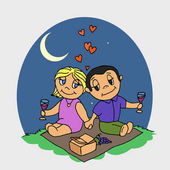 Couple on picnic Lovers with wine at night Love under the Moon Isolated on white background Flat vector stock illustration