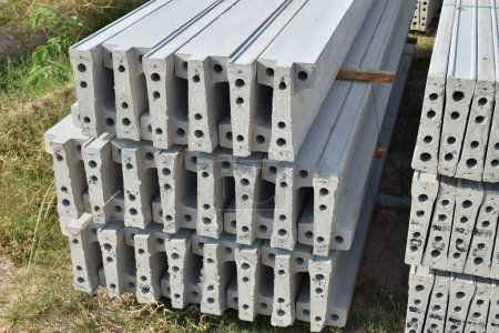 Plank concrete stacking in yard