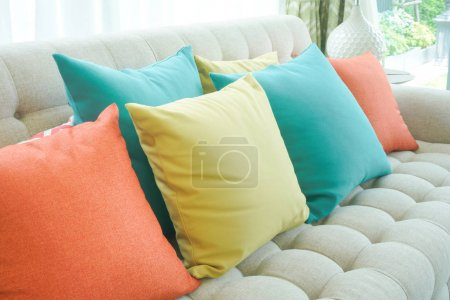 Photo for Closeup colorful pillows on sofa in modern living room - Royalty Free Image