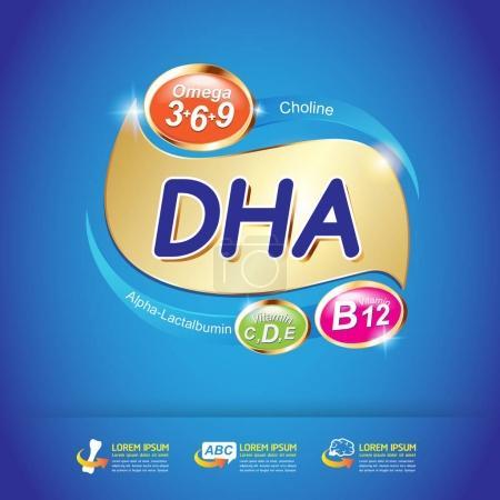 Illustration for Kids Omega 3 and Vitamin Concept. vector illustration - Royalty Free Image