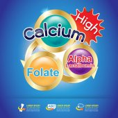 Calcium Omega Vitamin and Nutrients for Kids Vector Concept