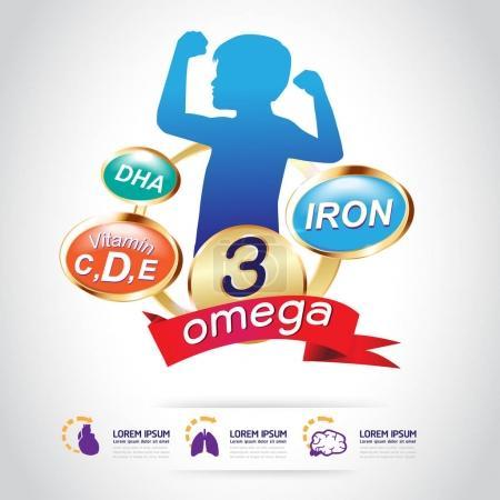 Kids Omega 3 Vitamin Concept