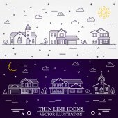 Neighborhood with homes illustrated white and purple background