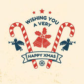Wishing you very happy Xmas Typography design Vector illustration Xmas retro badge with bells ribbon angels and Christmas candy Concept for shirt or logo print stamp patch