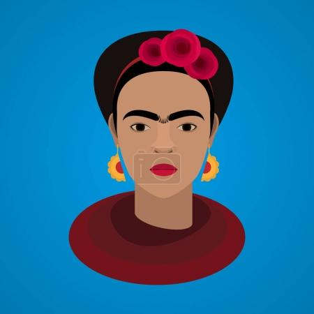 Vector illustration of famous mexican artist Frida...