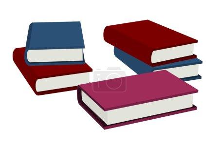 Photo pour Ensemble de cinq livres avec des couvertures colorées, illustration 3d sur fond blanc - image libre de droit