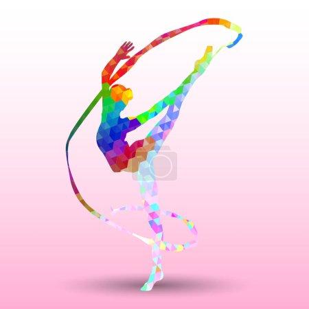 Illustration pour Silhouette créative de fille gymnastique. Gymnastique artistique avec ruban, illustration vectorielle colorée avec fond ou gabarit de bannière dans un style polygone coloré abstrait à la mode - image libre de droit