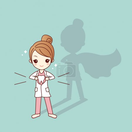 cute cartoon super dentist doctor