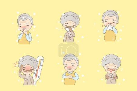 Illustration pour Dessin animé les personnes âgées attrapent un rhume, idéal pour votre conception - image libre de droit