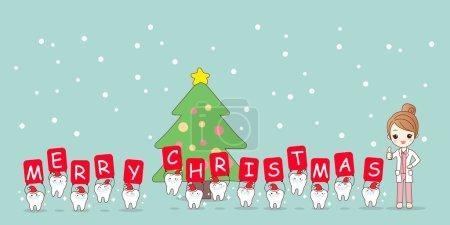 Illustration pour Noël et la neige avec la dent de dessin animé mignon et dentiste femme avec blanchir - image libre de droit