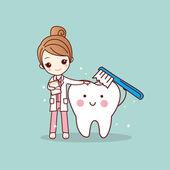 woman dentist brush clean teeth