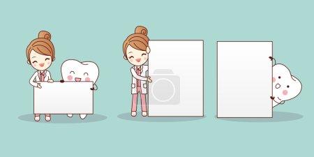 Illustration pour Dentiste femme dessin animé avec panneau d'affichage de maintien des dents - image libre de droit