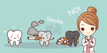 cartoon woman dentist with cigarette