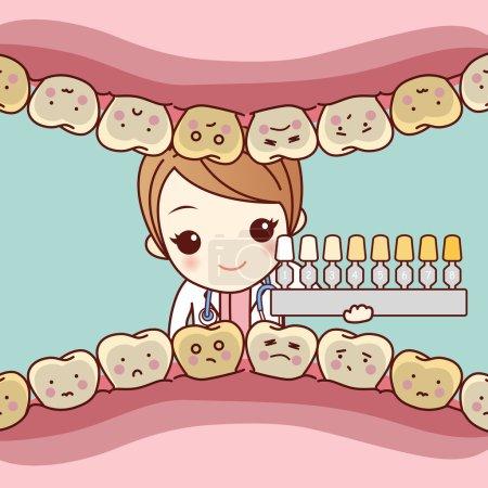 Illustration pour La femme dentiste utilise une table dentaire avec une dent - image libre de droit