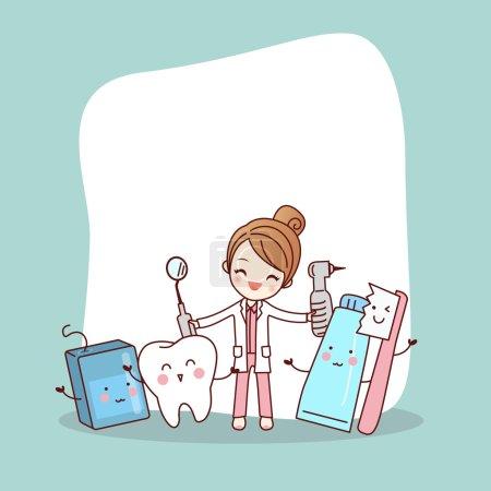 Illustration pour Bonne amie de la dent de dessin animé avec médecin dentiste et panneau d'affichage vide, idéal pour le concept de soins dentaires de santé - image libre de droit