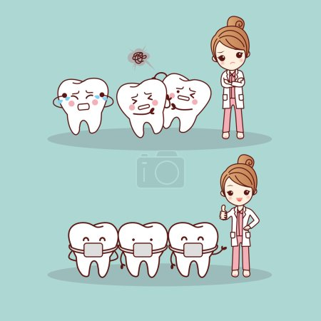 Cute cartoon tooth braces with dentist doctor, gre...