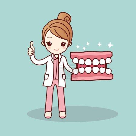 Illustration pour Joyeux dessin animé prothèse dentaire et dentiste montrer pouce vers le haut, idéal pour le concept de soins dentaires de santé - image libre de droit