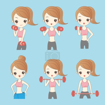 Cartoon young woman in fitness