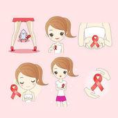cartoon woman preventing AIDS