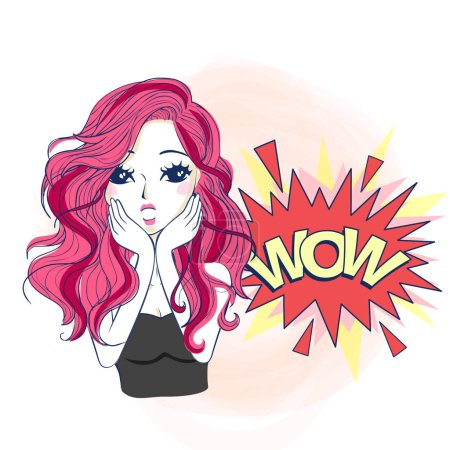 Illustration for Cartoon woman make wow expression, great for your design - Royalty Free Image