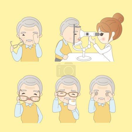 Illustration pour Homme âgé faire des vérifications de la vision, idéal pour votre conception - image libre de droit