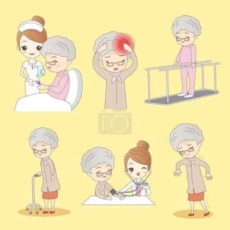 Illustration pour Le dessin animé vieil homme accident vasculaire cérébral pour faire la réhabilitation, idéal pour votre conception - image libre de droit