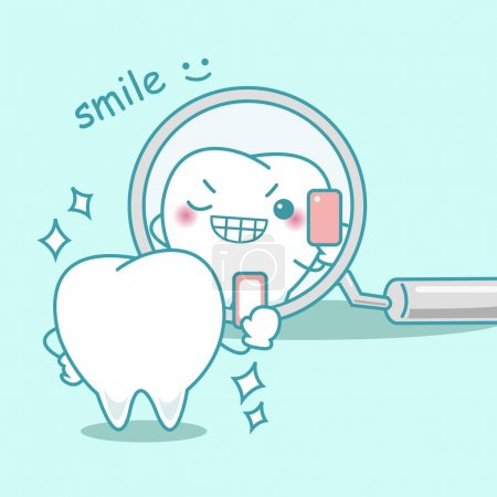 Illustration for Cute cartoon teeth smile to you in the mirror - Royalty Free Image
