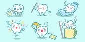 Kreslený zuby dělají různé věci