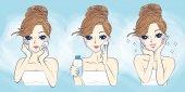 cartoon woman problem skin care
