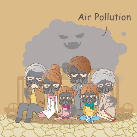 cartoon family with air pollution
