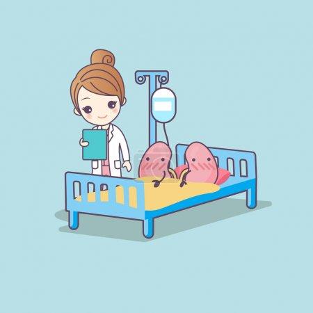 Illustration pour Dessin animé mignon rein et médecin, idéal pour le concept de soins de santé - image libre de droit