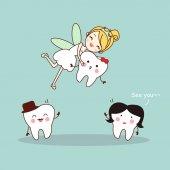 Kreslený zub s víla