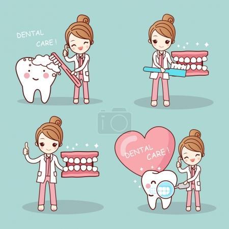 Illustration pour Mignon dessin animé dentiste brosse dent et pouce vers le haut - image libre de droit