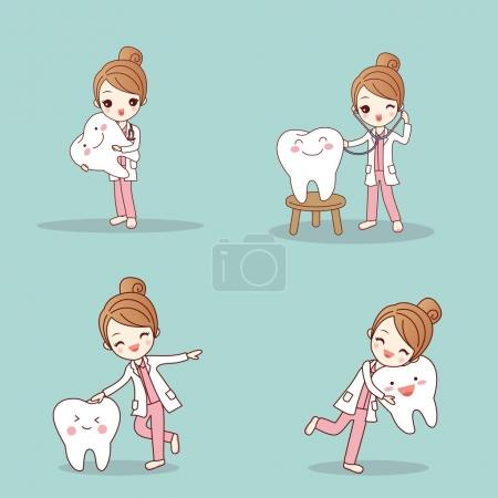 Cute cartoon dentist with tooth and smile happily...
