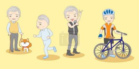 Illustration pour Mignon dessin animé vieil homme faire différent excirse - image libre de droit