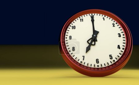 sept heures grande horloge rush montre fond jaune illustration 3D