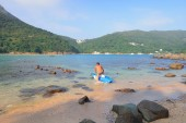 the  sandy beach at clear water bay