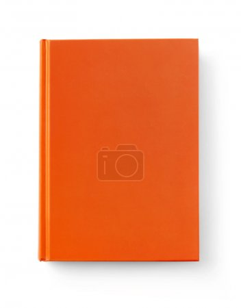 Photo for Front view of a orange blank book, white background - Royalty Free Image