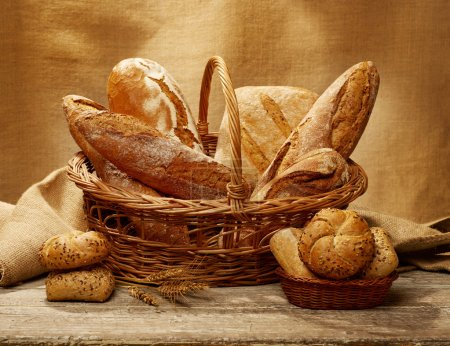 Photo for Bread selection in a basket - Royalty Free Image