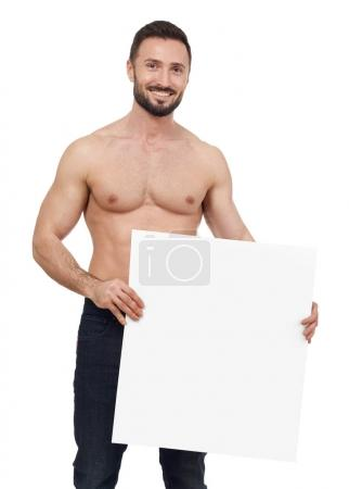 Shirtless man with banner