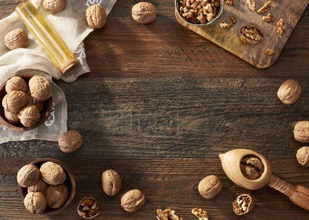 Walnuts on rustic background...