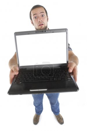 Amazed carpenter with laptop