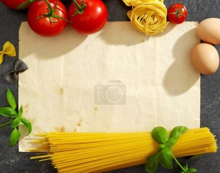 Old paper, pasta and ingredients