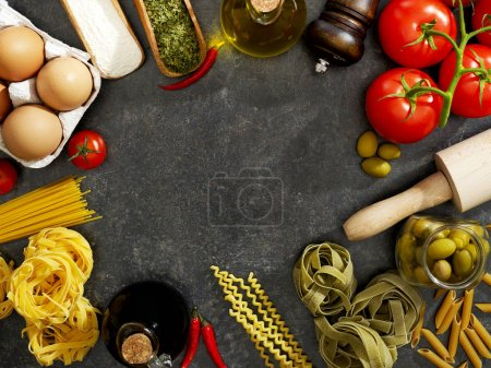Cooking ingredients from above