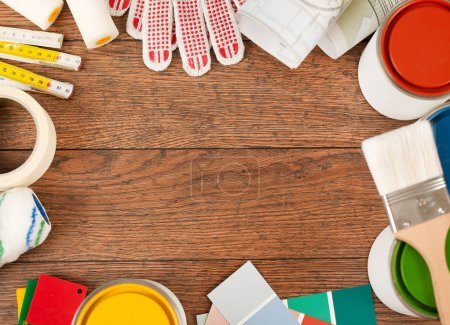 Photo for Tools and copy space on wood - Royalty Free Image