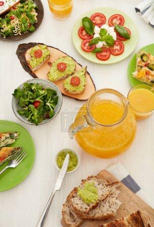Orange juice on dinner table
